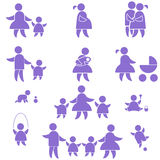 Family icon. set. Happy family icon. set symbol person:  mother, father and kids isolated on white Royalty Free Stock Images