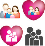 Family icon set. A set of 4 simple and bold vector family icons Royalty Free Stock Photos