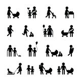 Family icon set. On black and white Royalty Free Stock Photography