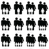 Family icon set in black and white color illustration. Family icon happy set in black and white color illustration Royalty Free Stock Photography