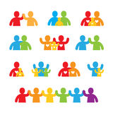 Family icon set. Colored family and friend icons Royalty Free Stock Image