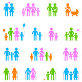 Family icon set. Colored family icon set on white background Stock Photo