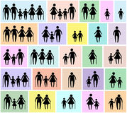 Family icon set. Family icon with father mother grandfather grandmother daughter son old alone and couple, vector set Stock Photos