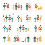 Family icon set. Isolated happy family icon collection Royalty Free Stock Photos
