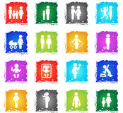 Family icon set. Family vector web icons in grunge style for user interface design Stock Photo