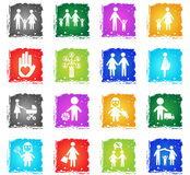 Family icon set. Family web icons in grunge style for user interface design Royalty Free Stock Photo