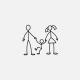 Family icon stick figure  Stock Image