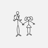 Family icon stick figure vector. Family icon stick figure over white background, vector illustration Royalty Free Stock Photo