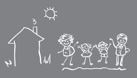 Family icon vector banne 4 people. Family icon vector banner, fake paper card, poster. 4 people and house, sun, nature royalty free illustration