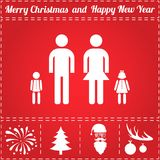 Family Icon Vector. And bonus symbol for New Year - Santa Claus, Christmas Tree, Firework, Balls on deer antlers Stock Image