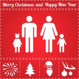 Family Icon Vector. And bonus symbol for New Year - Santa Claus, Christmas Tree, Firework, Balls on deer antlers Stock Photography
