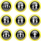 Family icons. Collection of family icons set on black glossy buttons Stock Photo