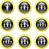 Family icons. Collection of family icons set on black glossy buttons Royalty Free Stock Photo