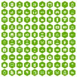 100 family icons hexagon green Stock Photos