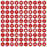 100 family icons hexagon red Stock Photo