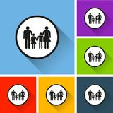 Family icons with long shadow Stock Photos