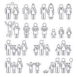 Family icons. Mom dad boy and girl, happy family, thin line icons set Stock Photo