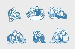 Family icons set. People group emblem, tag Royalty Free Stock Photos