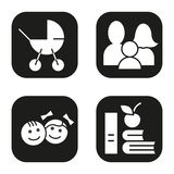 Family icons set. Baby carriage, children, apple and books symbol. Vector white silhouettes illustrations in black. Squares Royalty Free Stock Photos