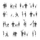 Family Icons Set Black. Family figures black icons set of men women dating wedding parenting isolated vector illustration Royalty Free Stock Image