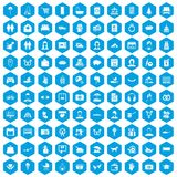 100 family icons set blue. 100 family icons set in blue hexagon isolated vector illustration Vector Illustration