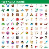 100 family icons set, cartoon style. 100 family icons set in cartoon style for any design illustration stock illustration