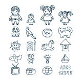 Family icons set in doodle style. Hand drawn design elements. Dr Stock Image