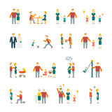Family icons set flat Stock Photos