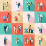 Family Icons Set Stock Photography