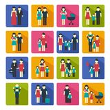 Family Icons Set Flat Stock Image