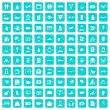 100 family icons set grunge blue. 100 family icons set in grunge style blue color isolated on white background vector illustration royalty free illustration