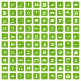 100 family icons set grunge green. 100 family icons set in grunge style green color isolated on white background vector illustration Royalty Free Stock Photos