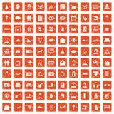 100 family icons set grunge orange. 100 family icons set in grunge style orange color isolated on white background vector illustration Stock Image