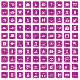 100 family icons set grunge pink. 100 family icons set in grunge style pink color isolated on white background vector illustration Royalty Free Stock Photos