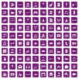 100 family icons set grunge purple. 100 family icons set in grunge style purple color isolated on white background vector illustration Royalty Free Stock Photos