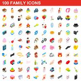 100 family icons set, isometric 3d style. 100 family icons set in isometric 3d style for any design illustration royalty free illustration