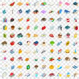 100 family icons set, isometric 3d style. 100 family icons set in isometric 3d style for any design vector illustration Royalty Free Stock Images