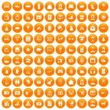 100 family icons set orange. 100 family icons set in orange circle isolated on white vector illustration stock illustration