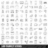 100 family icons set, outline style. 100 family icons set in outline style for any design vector illustration royalty free illustration