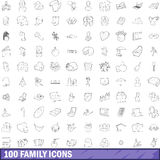 100 family icons set, outline style Stock Photo