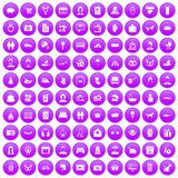 100 family icons set purple. 100 family icons set in purple circle isolated on white vector illustration Stock Images