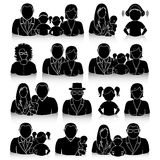 Family icons set with shadows, eps10 Stock Images
