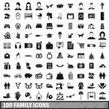 100 family icons set in simple style. For any design vector illustration Stock Image