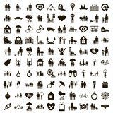 100 family icons set, simple style. 100 family icons set in simple style on a white background Royalty Free Illustration
