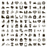 100 family icons set, simple style. 100 family icons set in simple style on a white background Royalty Free Stock Image