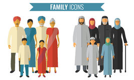 Family icons set. Traditional Culture. Vector. Illustration Stock Image