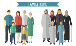 Family icons set. Traditional Culture. Vector. Illustration Royalty Free Stock Images