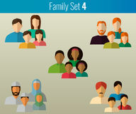 Family icons set. Vector. Family icons set. Multicultural society. Vector illustration Royalty Free Stock Photos