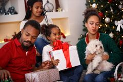 Family idyll for Christmas. At home royalty free stock photos