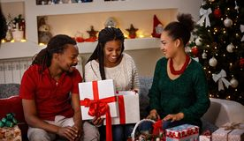 Family idyll for Christmas. At home stock photo
